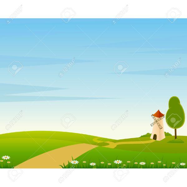 Cartoon Farm Landscape Clip Art