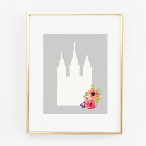small resolution of salt lake city utah lds temple floral silhouette 8x10 art