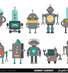 retro robot clipart robot clipart birthday by graphicpassion  [ 1500 x 1208 Pixel ]