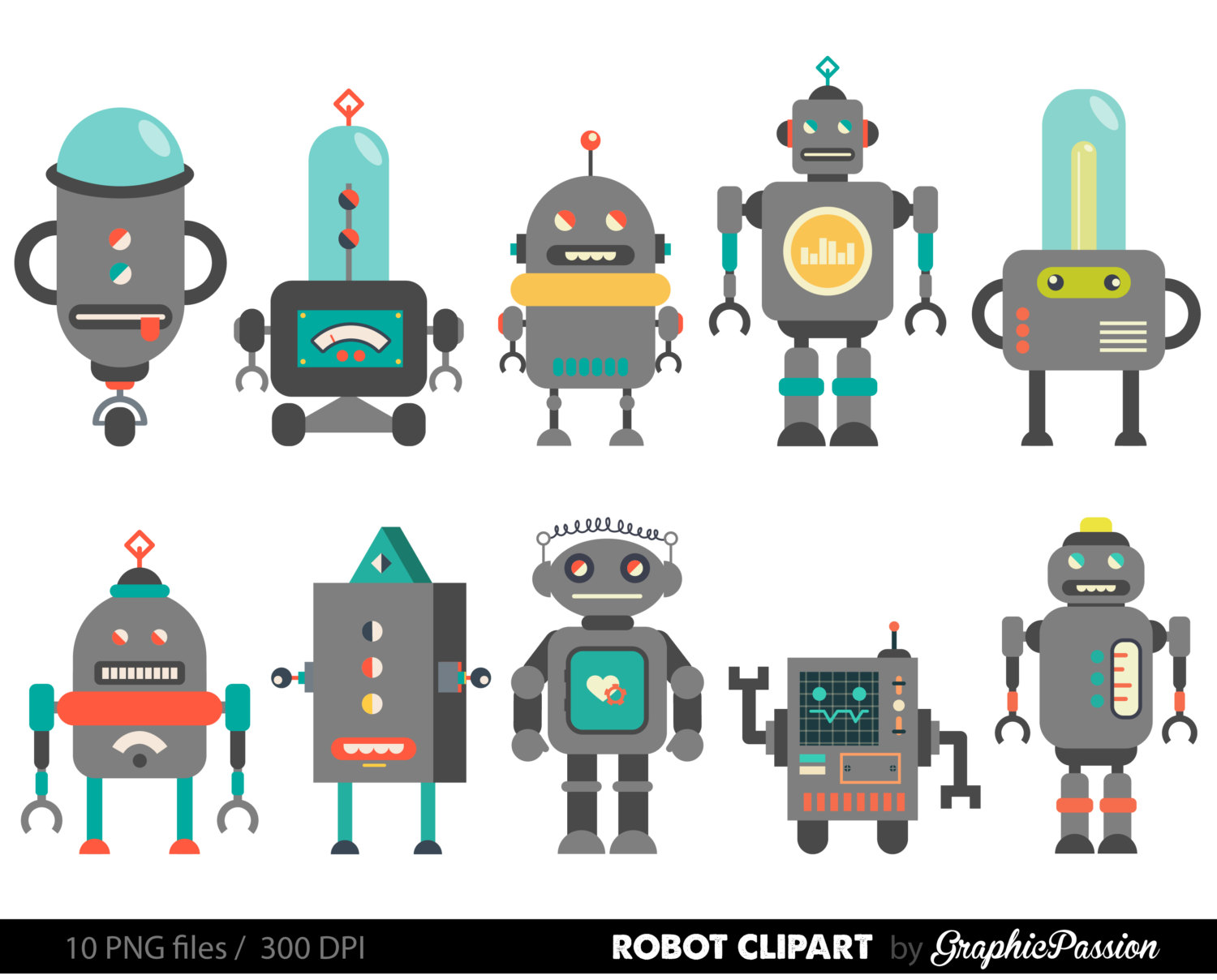 hight resolution of retro robot clipart robot clipart birthday by graphicpassion