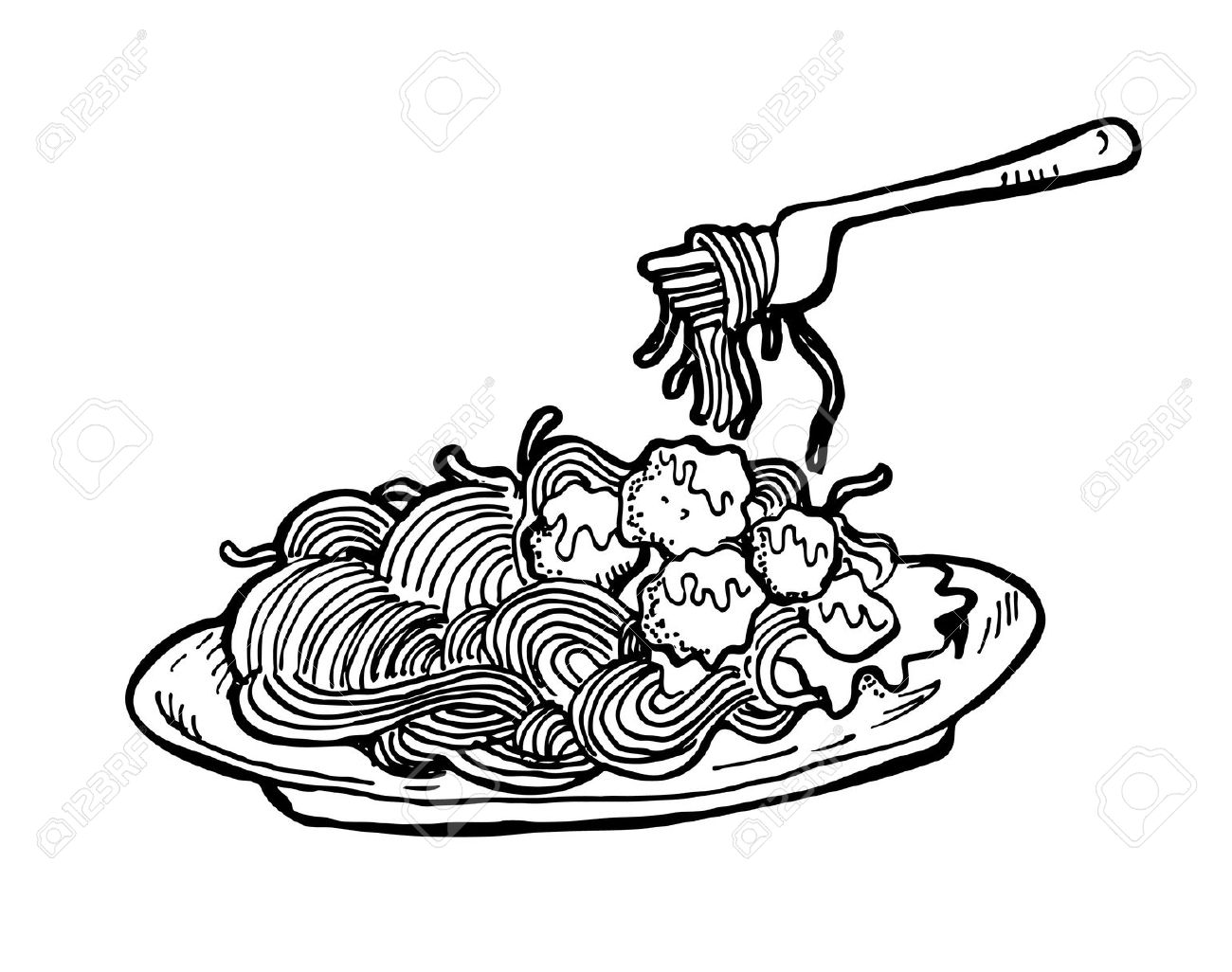Macaroni Clipart Black And White