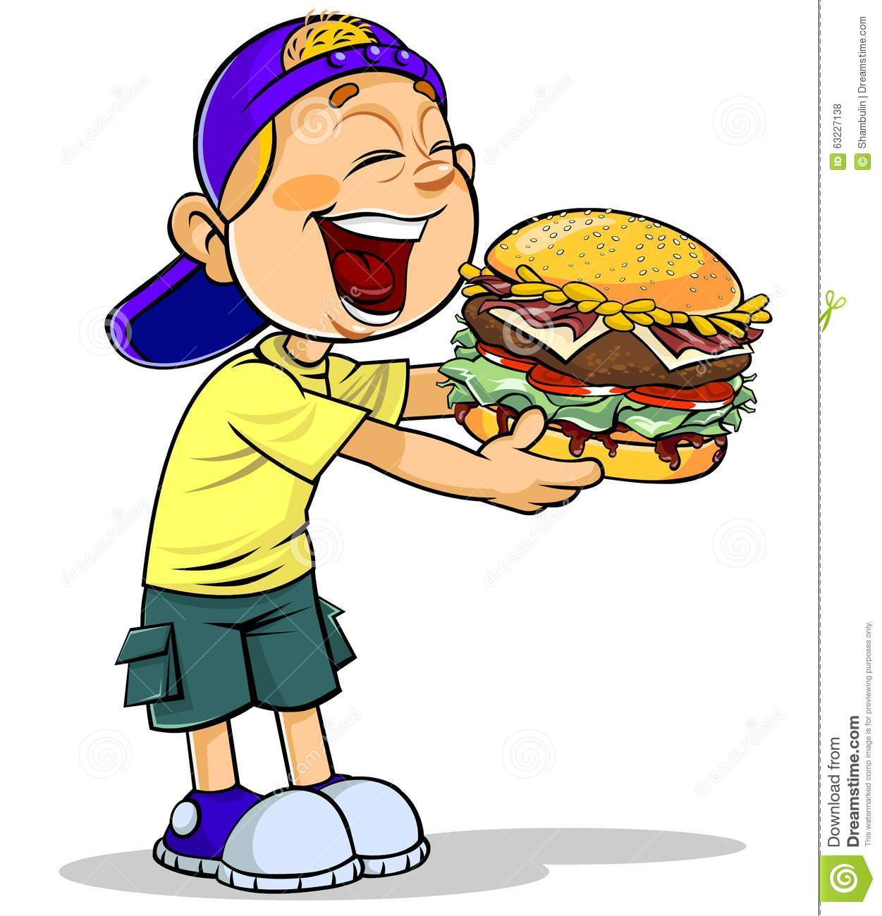 Eating Guy Happy Burger Fat
