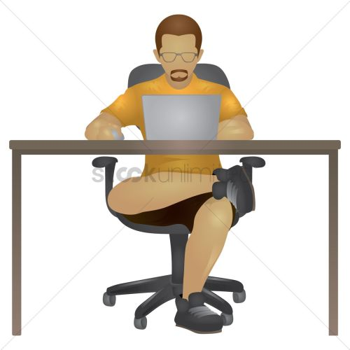 small resolution of man working on laptop vector graphic clipart