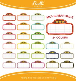 24 movie marquee clipart colorful rainbow color by nedtidesigns  [ 936 x 936 Pixel ]