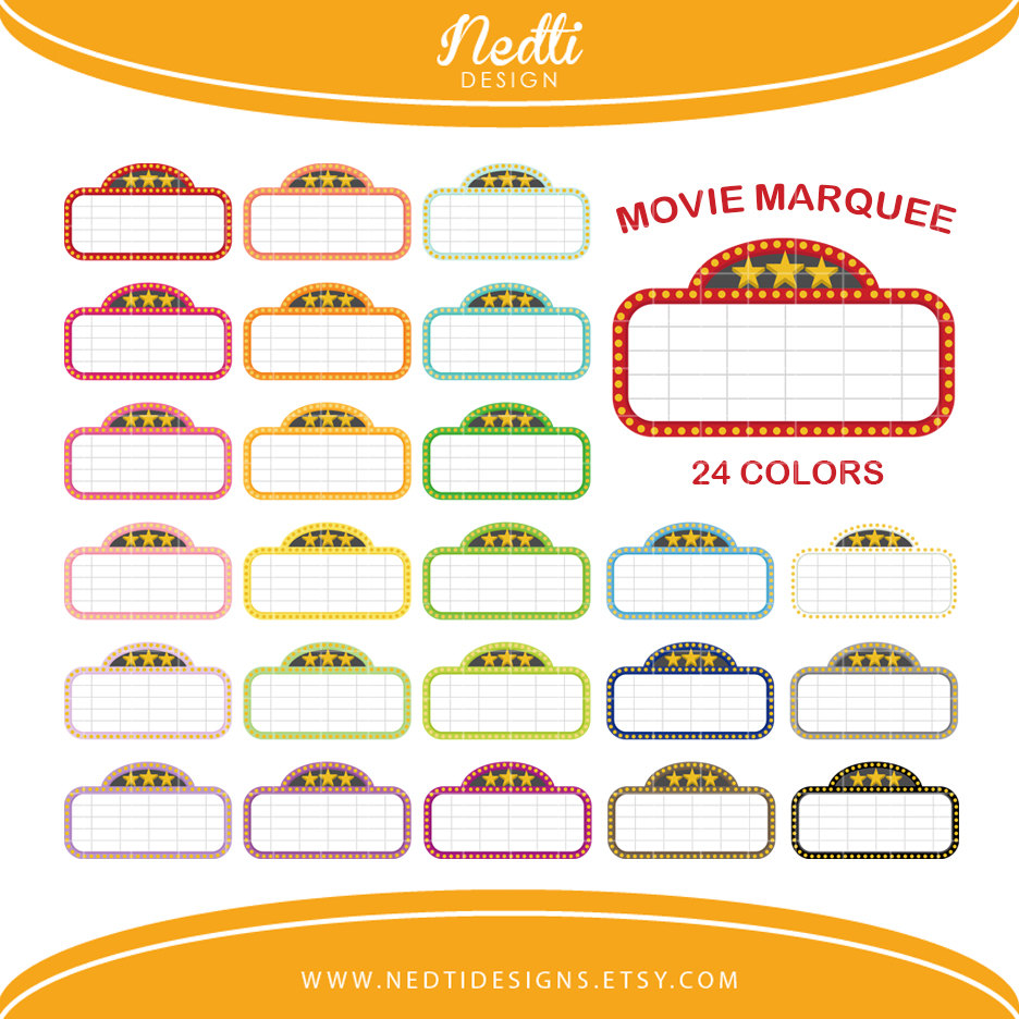 medium resolution of 24 movie marquee clipart colorful rainbow color by nedtidesigns