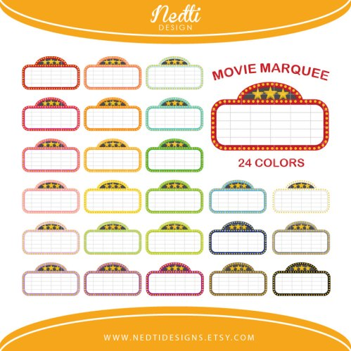 small resolution of 24 movie marquee clipart colorful rainbow color by nedtidesigns