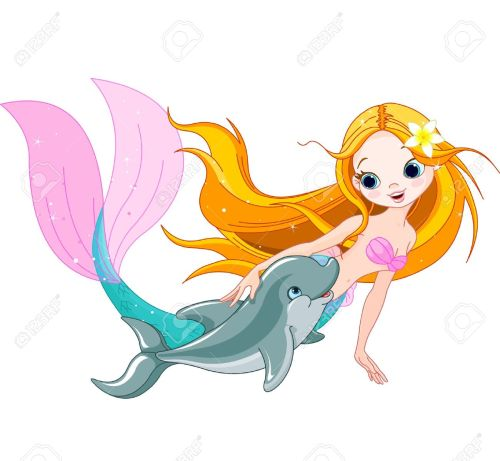 small resolution of illustration of cute mermaid swimming with dolphin royalty free
