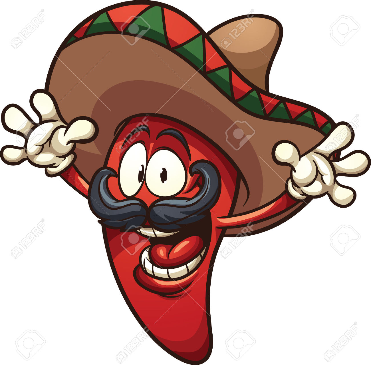hight resolution of happy mexican chili pepper vector clip art illustration with