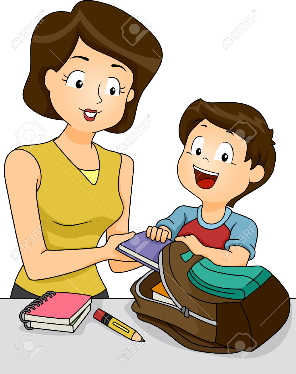 hight resolution of mother helping child clipart