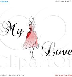 clipart of my love text with a woman in a red dress  [ 1080 x 1024 Pixel ]