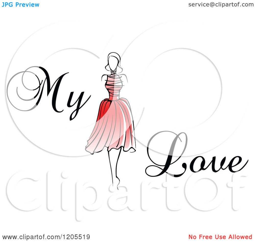 medium resolution of clipart of my love text with a woman in a red dress