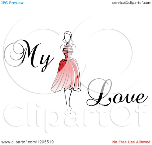 small resolution of clipart of my love text with a woman in a red dress