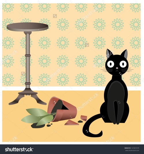 small resolution of illustration of black naughty cat who broke flower pot in the room