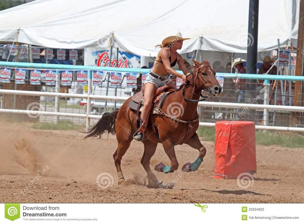medium resolution of bikini barrel racing next barrel editorial stock photo