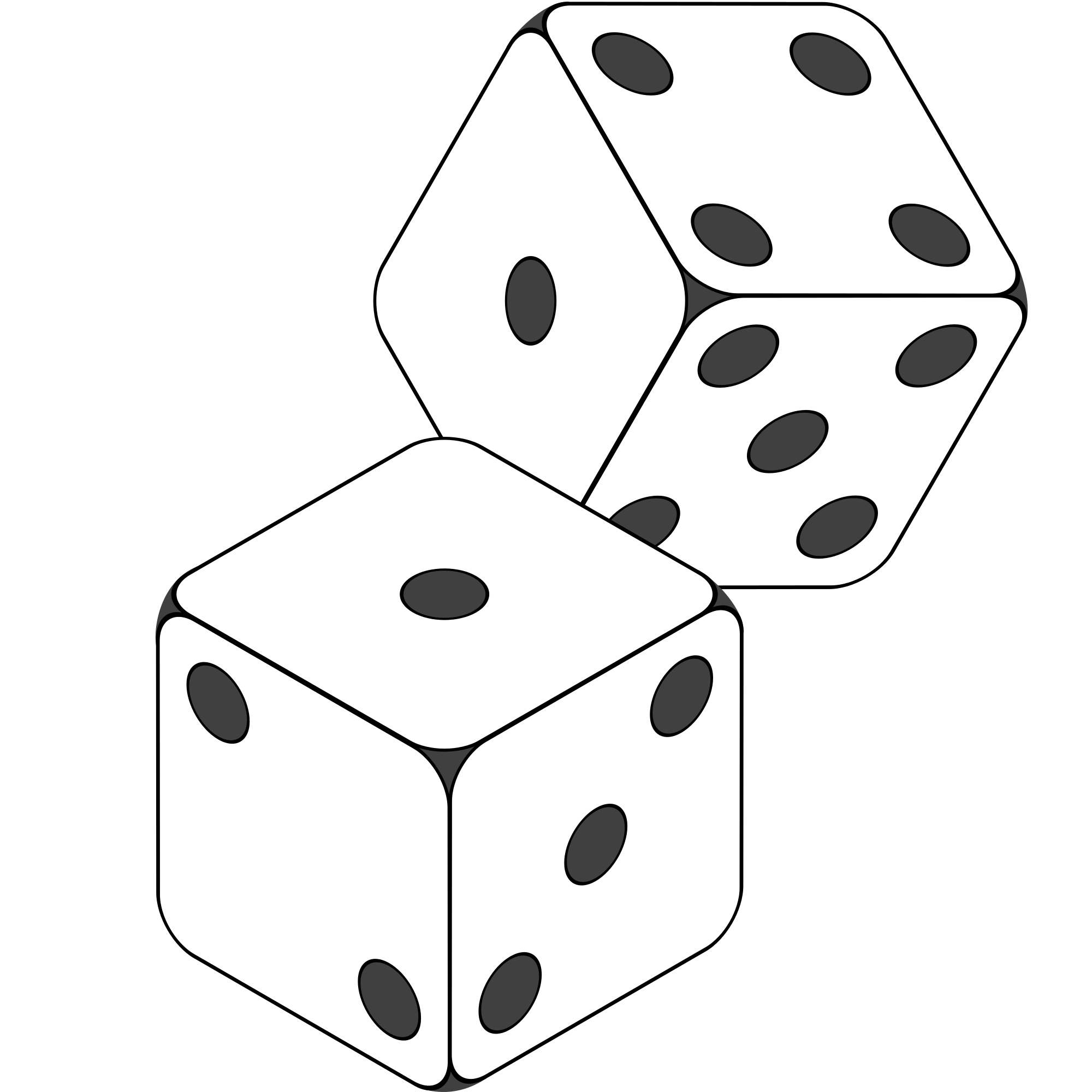 Number 3 Dice Clipart Black And White