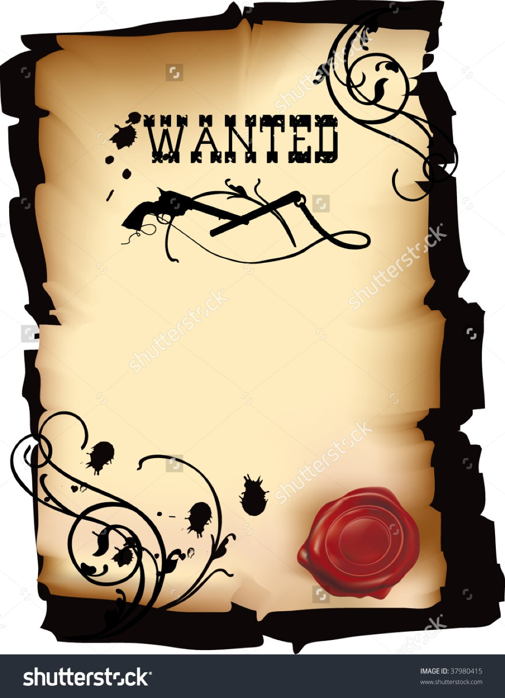 medium resolution of wild west wanted poster vector format stock vector 37980415