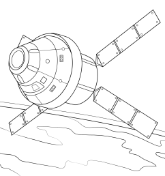 orion spacecraft with atv based service module coloring page  [ 2046 x 1526 Pixel ]
