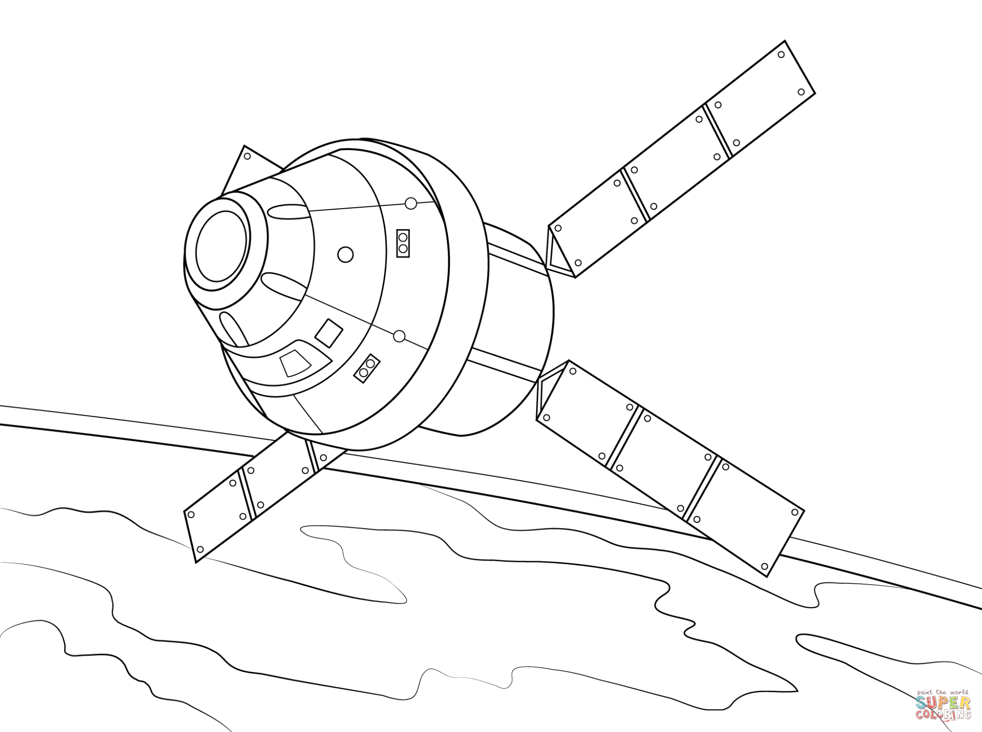 hight resolution of orion spacecraft with atv based service module coloring page