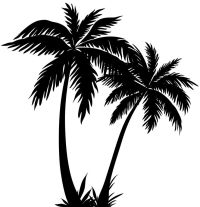 pool chair palm tree black white clipart - Clipground