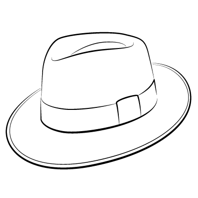 Fedora Hat Drawing Sketch Coloring Page