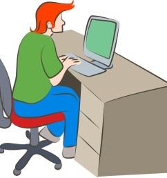 person working on computer clipart  [ 1599 x 1600 Pixel ]