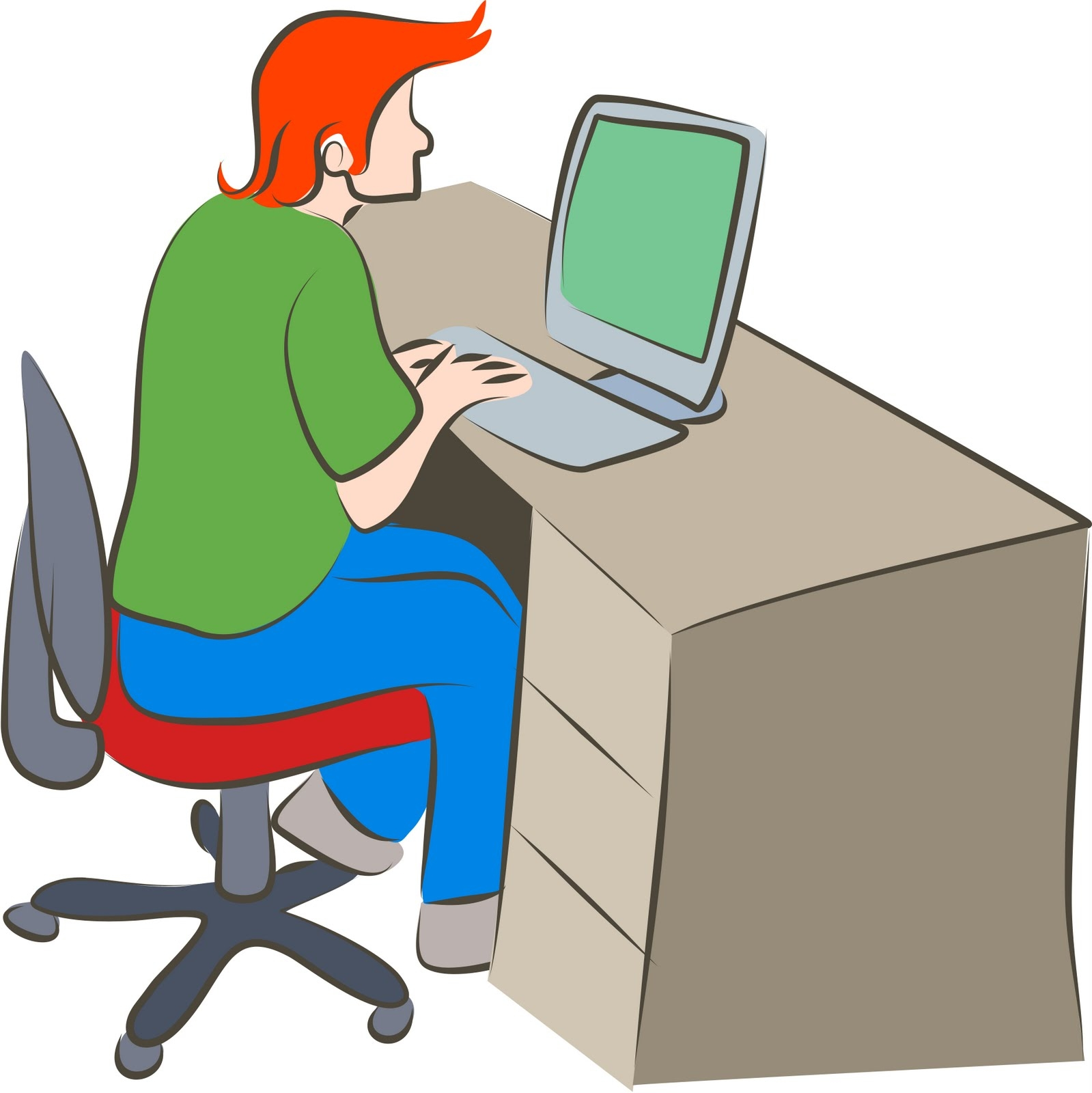 hight resolution of person working on computer clipart