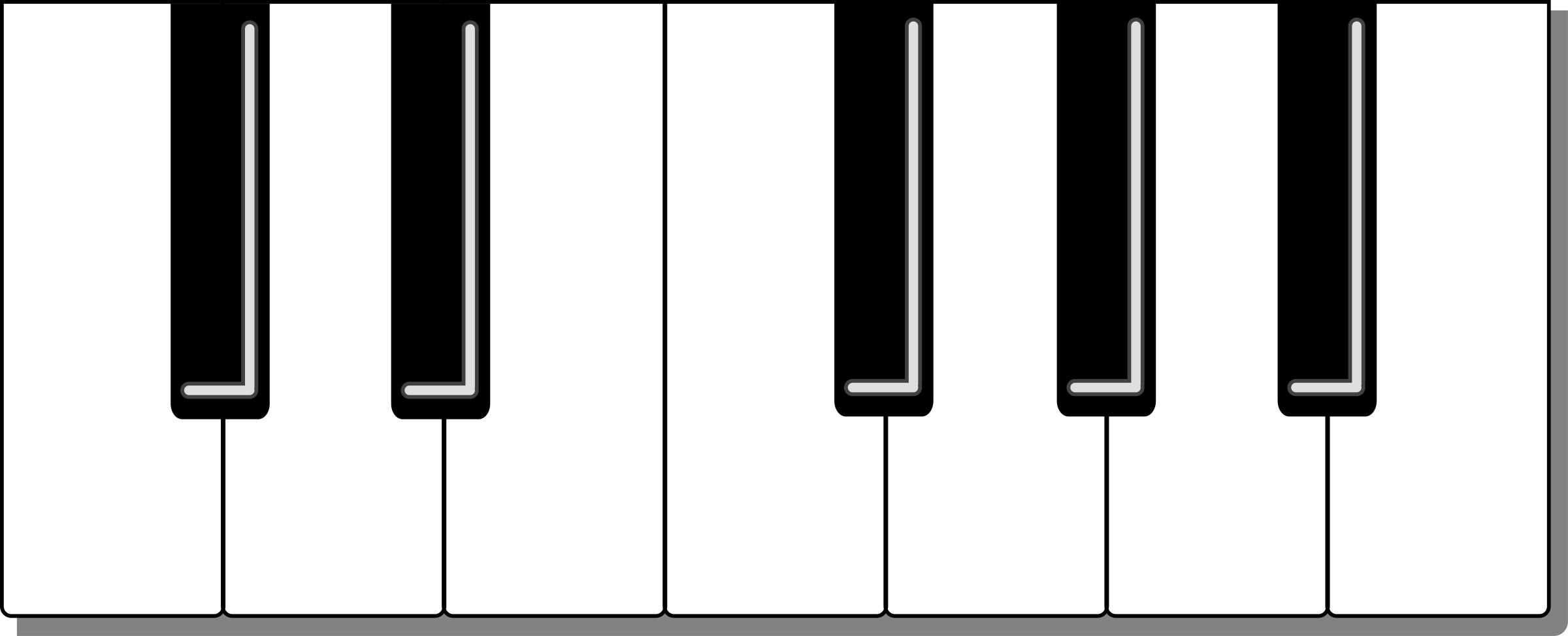 Piano Keyboard Clipart Color