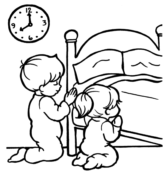 picture of little girl praying black and white clipart