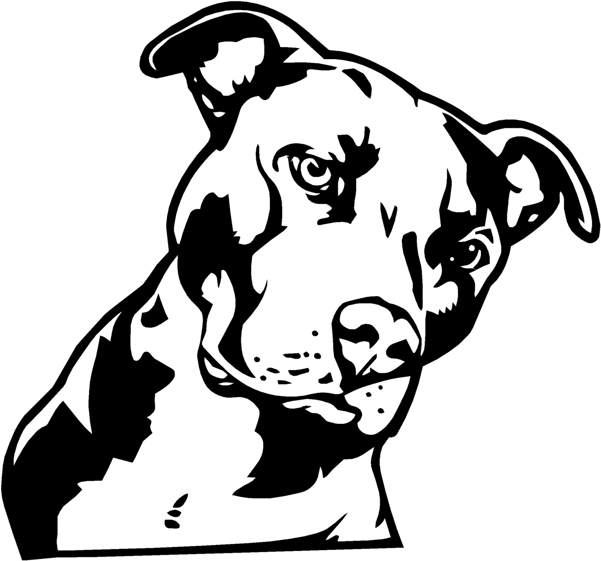 Pitbull Clipart Black White