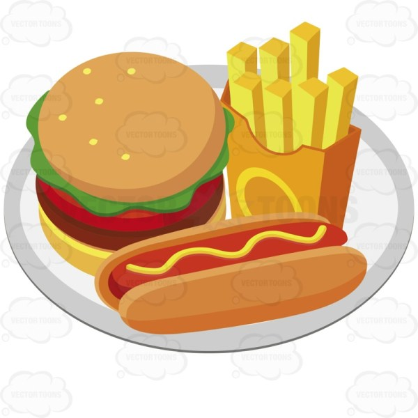 Hot Dog and Hamburger with Fries On Plate