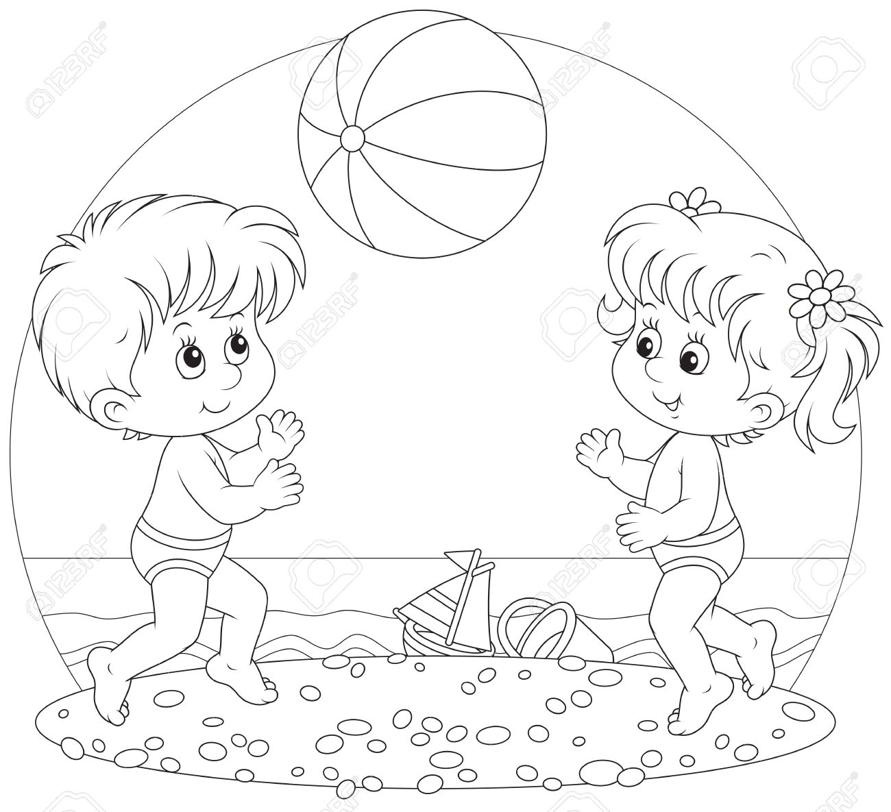 Playing Children Outline Clipart