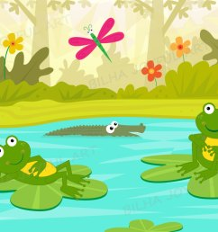 frogs at the pond clipart river cute frog amphibian kids room water lilly dragonfly vector catoon illustration clip art decoration download [ 1500 x 887 Pixel ]