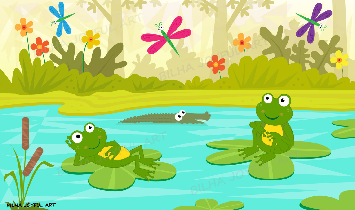 hight resolution of frogs at the pond clipart river cute frog amphibian kids room water lilly dragonfly vector catoon illustration clip art decoration download