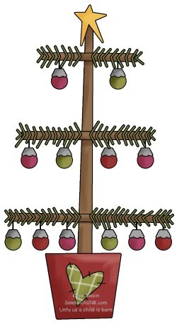 primitive christmas tree clipart