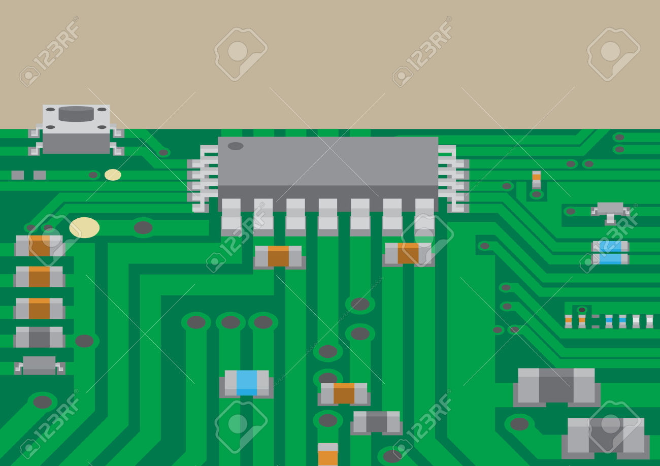 hight resolution of vector surface mount technology printed circuit board flat graphic