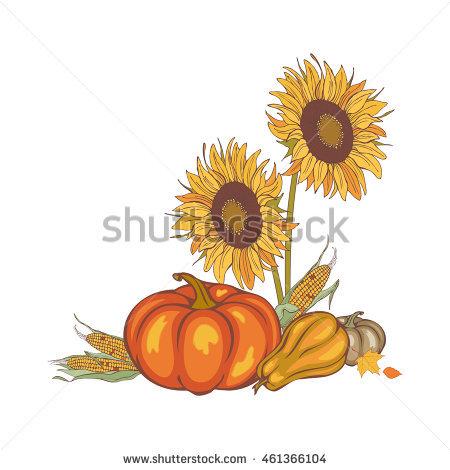 pumpkin and sunflower clipart free