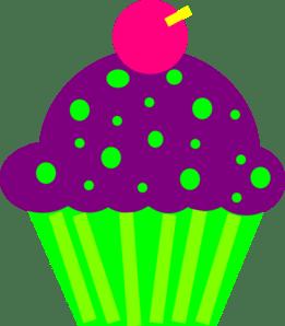 purple birthday cupcake clipart