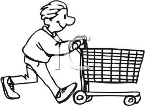 cart clipart pushing shopping boy push teen food royalty clipground help