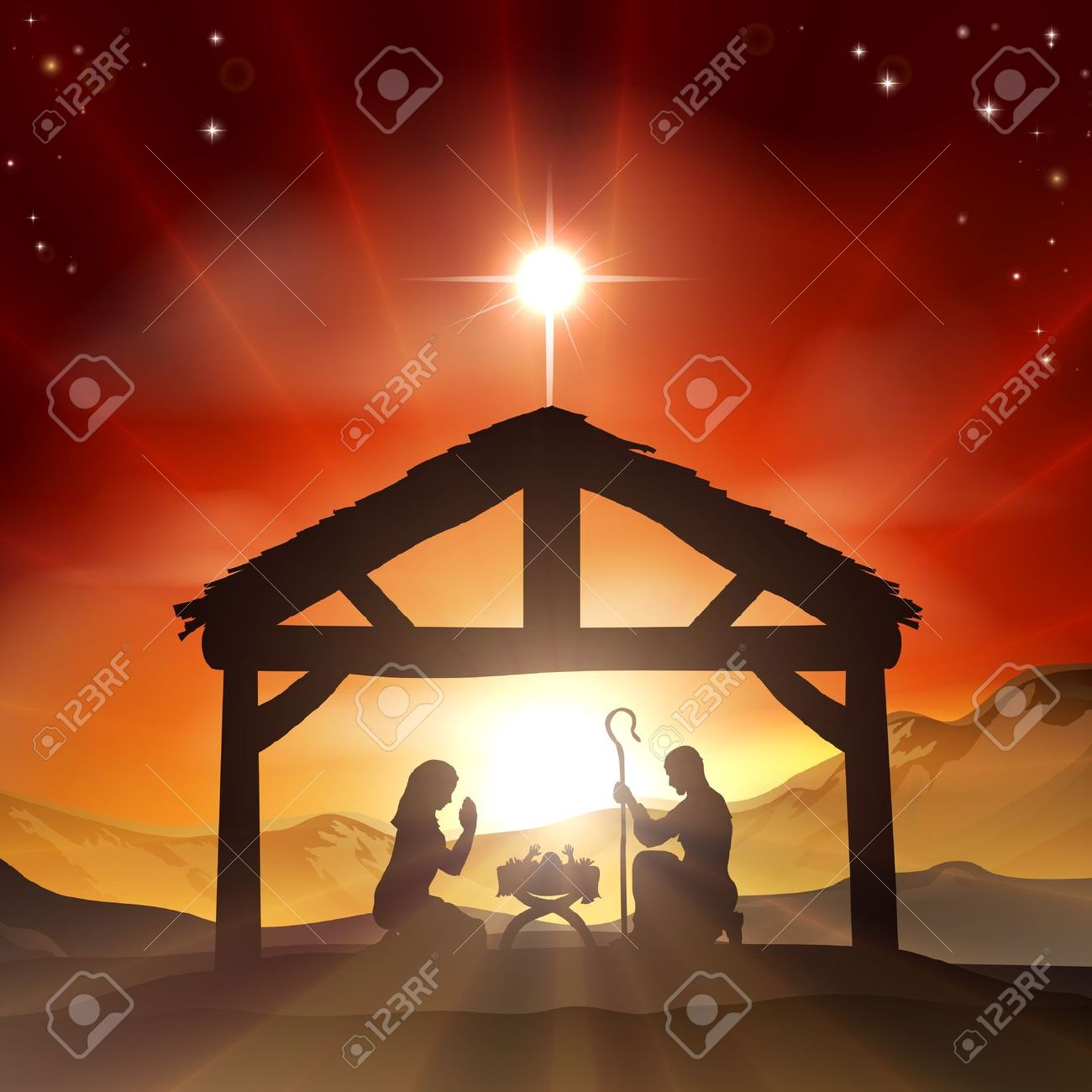 hight resolution of red christmas nativity clipart