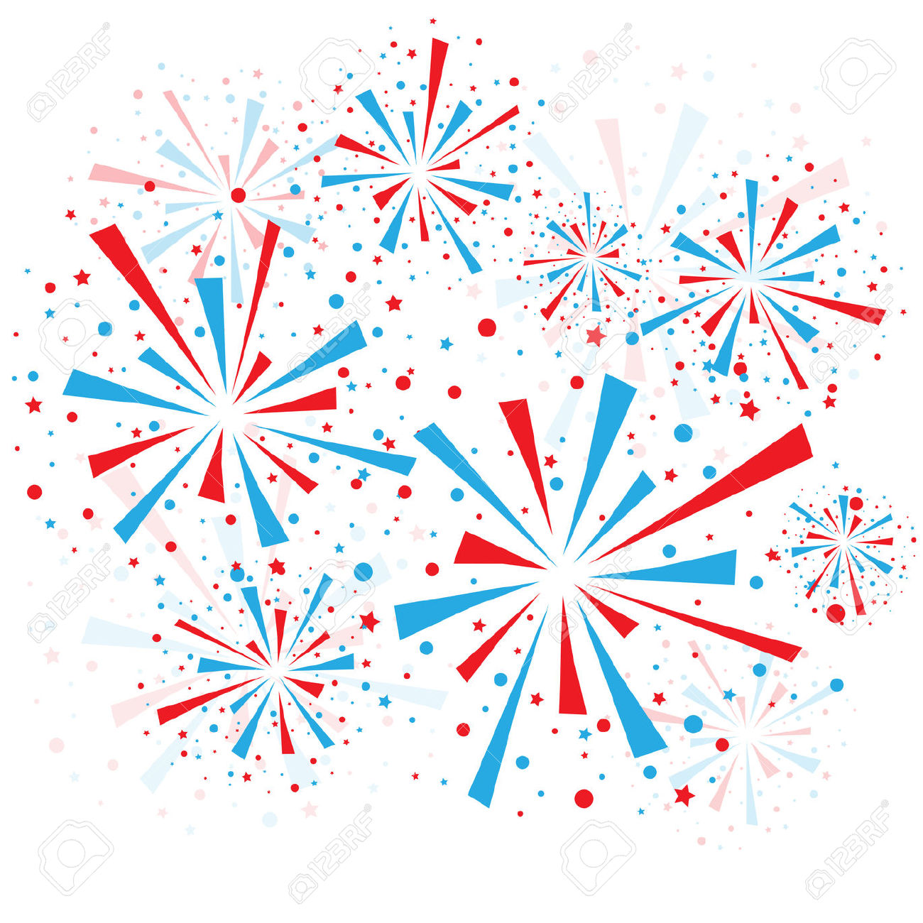 hight resolution of red white and blue fireworks clipart