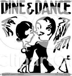 clipart of a black and white retro couple under dine and dance  [ 1080 x 1024 Pixel ]