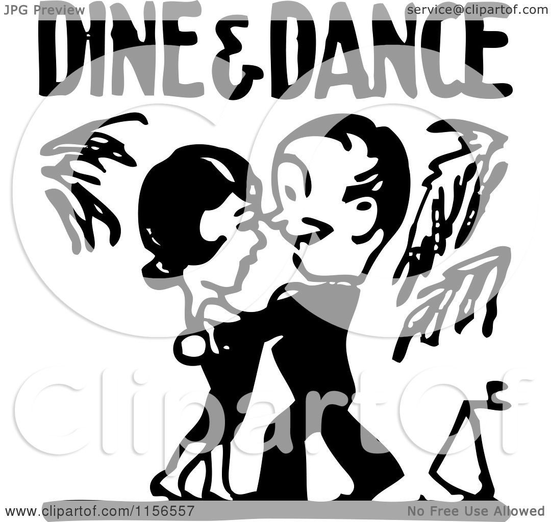 hight resolution of clipart of a black and white retro couple under dine and dance