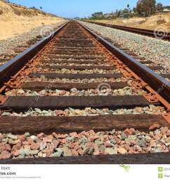 rusty train tracks with sandstone stock image  [ 1300 x 956 Pixel ]