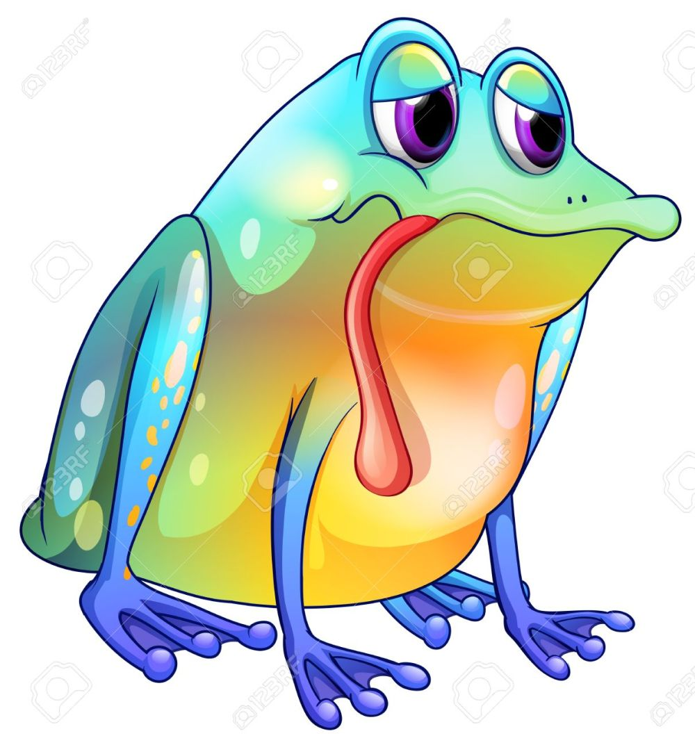 medium resolution of illustration of a colorful sad frog on a white background royalty