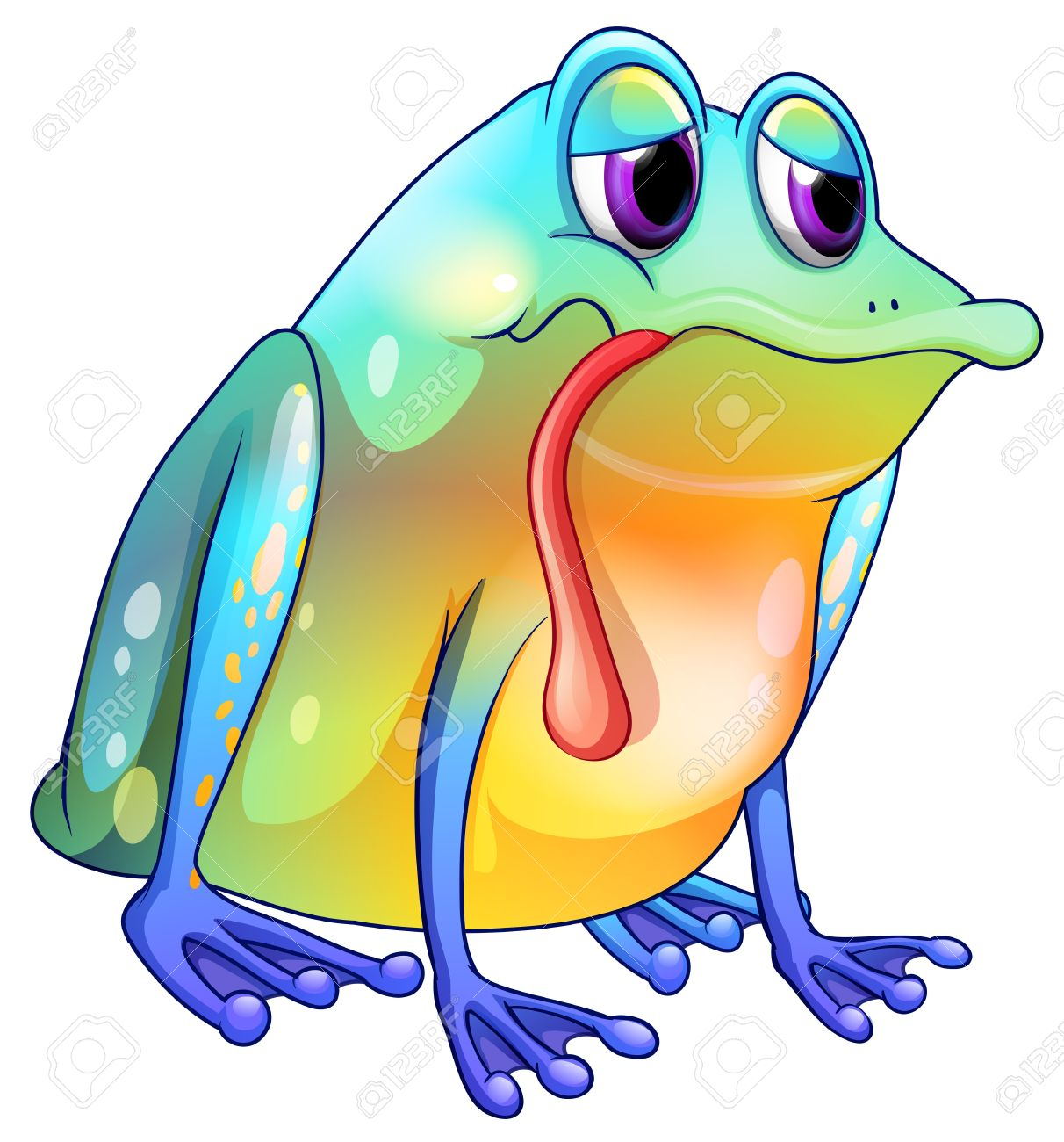 hight resolution of illustration of a colorful sad frog on a white background royalty