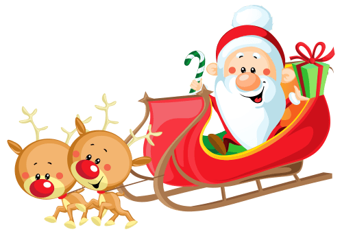 small resolution of cute santa with sleigh png