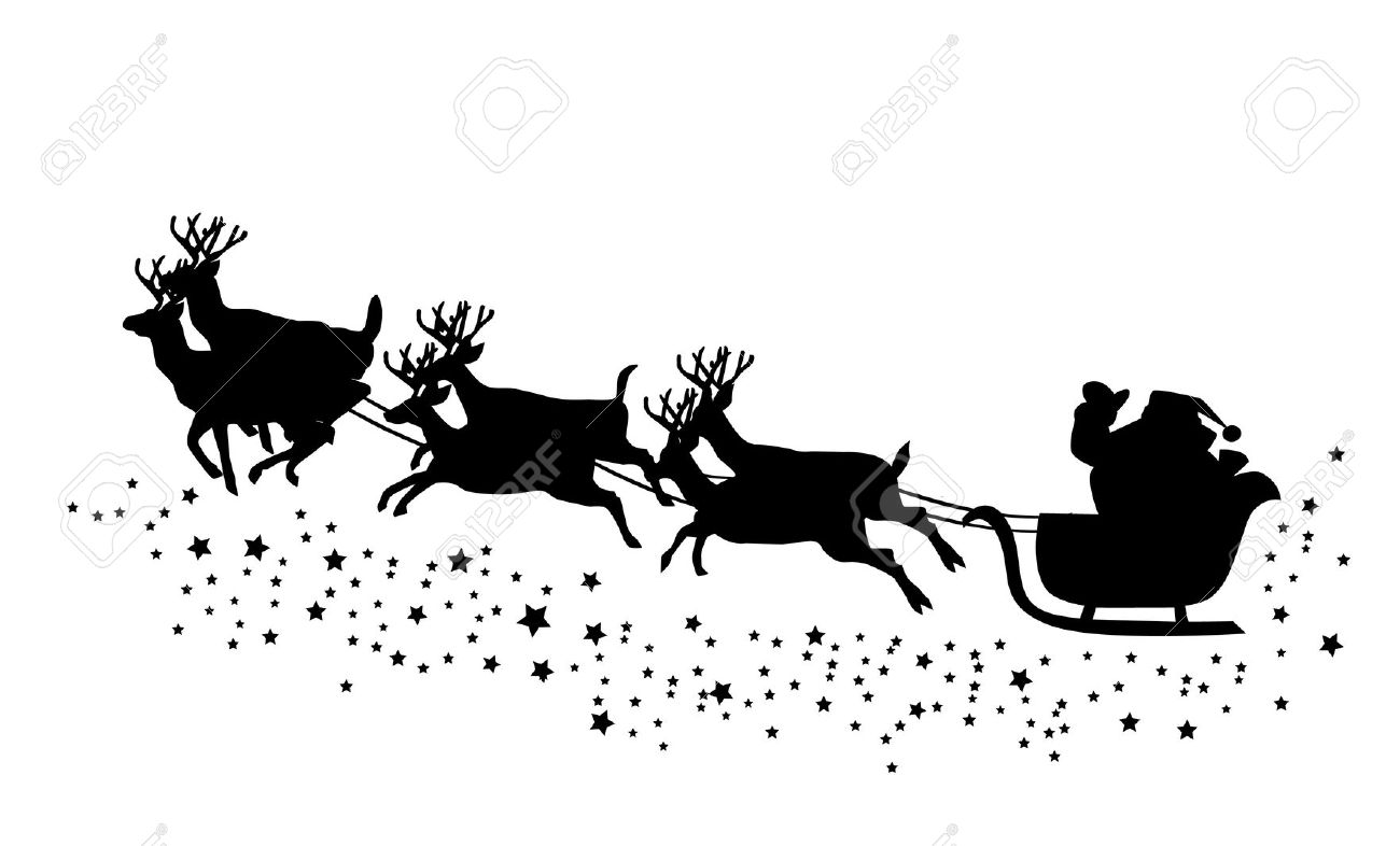 Santa Flying In His Sleigh Clipart