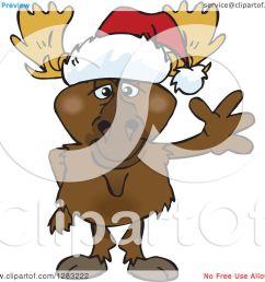 clipart of a friendly waving moose wearing a christmas santa hat  [ 1080 x 1024 Pixel ]