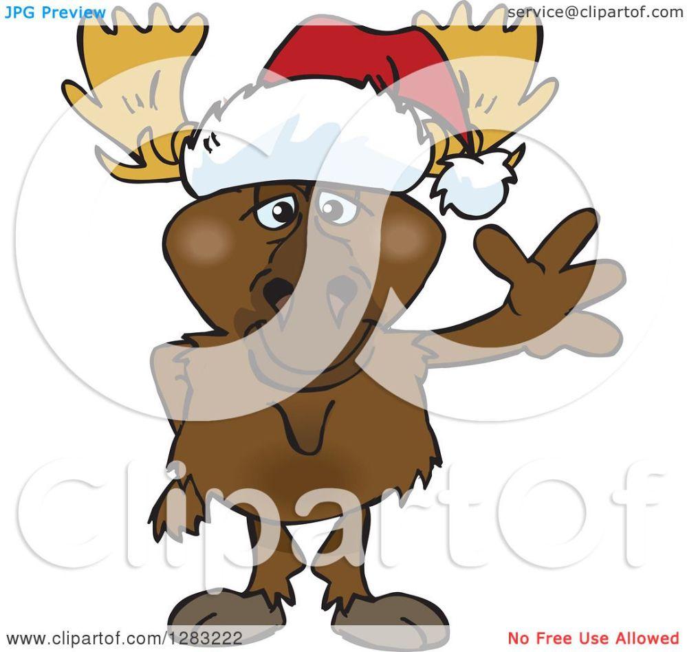 medium resolution of clipart of a friendly waving moose wearing a christmas santa hat