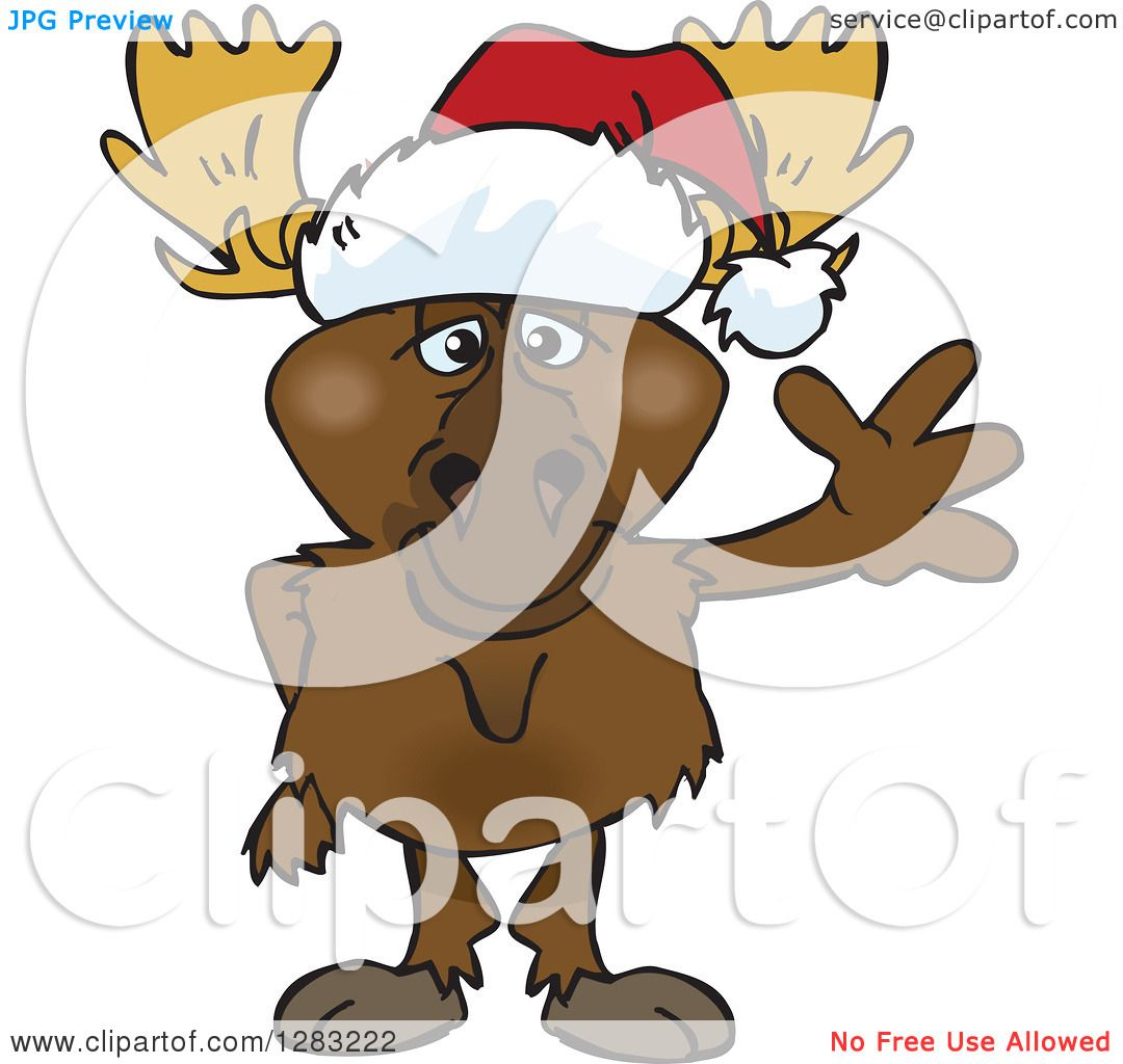 hight resolution of clipart of a friendly waving moose wearing a christmas santa hat